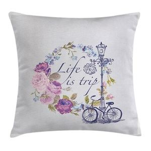 Pillow Case Floral Life Quote Cover No Insert